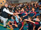 Nobel laureate Kailash Satyarthi with students of GEMS International School in Al Khail. He briefed them about his new campaign called '100 million for 100 million'.