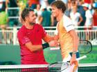 Stan Wawrinka of Switzerland congratulates Alexander Zverev of Germany after losing inthree sets in the Miami Open at Crandon Park Tennis Center in Key Biscayne on Tuesday.