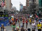 Runners head to the finish line in the 121st Boston Marathon. Adidas has apologized for sending out