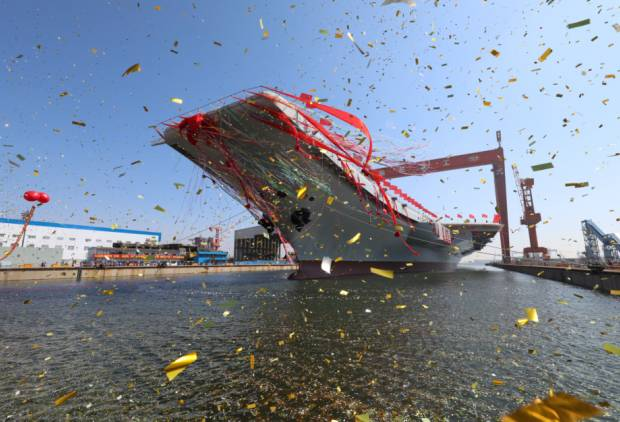 China launches aircraft carrier built at home