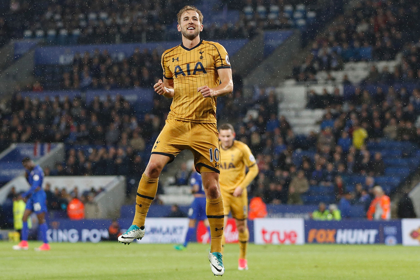 Harry Kane celebrates scoring his third goal, their fifth, against Leicester City.