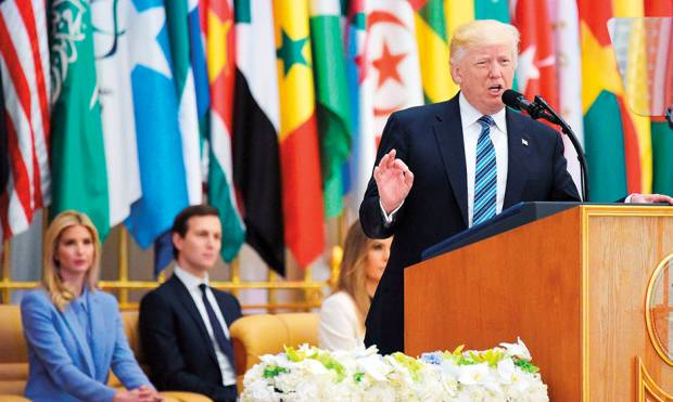 US President Donald Trump speaks during the Arab Islamic-American Summit
