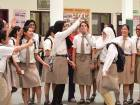 Students of Our Own English High School, Sharjah celebrating after the announcement of CBSE results.