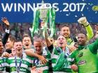 Celtic's players celebrate after winning the Scottish Cup final against Aberdeen at Hampden Park.
