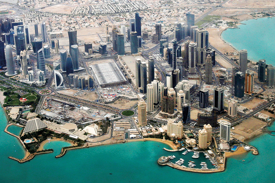 This file photo shows an aerial view of Doha's diplomatic area