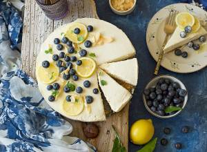 Lemon and Blueberries Labneh Cheesecake