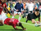 All Blacks winger Rieko Ioane scores a try during the first Test between the British and Irish Lions and the All Blacks at Eden Park in Auckland, New Zealand.
