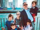 Hasan Al Khatib, Ahmad's father, with his grandchildren in Abu Dhabi. Ahmad is celebrating this Eid in Palestine.