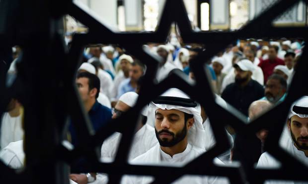 Muslims gather at Blue Mosque in Dubai for Eid