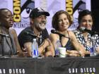 """Danai Gurira, from left, Jeffrey Dean Morgan, Lauren Cohan, and Alanna Masterson attend """"The Walking Dead"""" panel on day two of Comic-Con International on Friday, July 21, 2017, in San Diego. (Photo by Al Powers/Invision/AP)"""