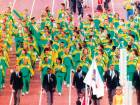 Members of the South African delegation parade at opening ceremony of the 25th Olympic Games in Balrcelona.