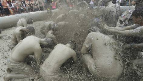 Revellers get muddy at a South Korean city