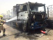 Hauling truck goes up in flames in Ajman