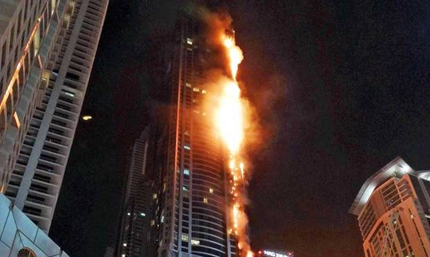 Pictures: Fire hits Dubai Marina Torch