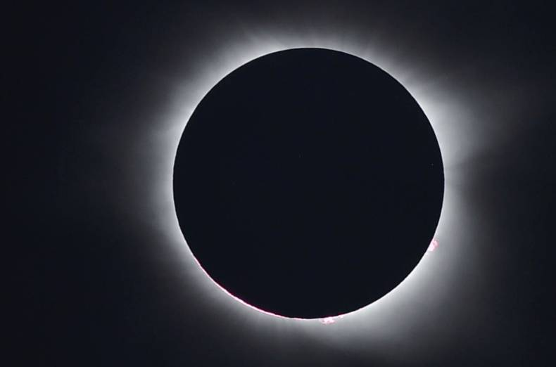 The total solar eclipse is seen from Charleston, South Carolina, on August 21, 2017.
