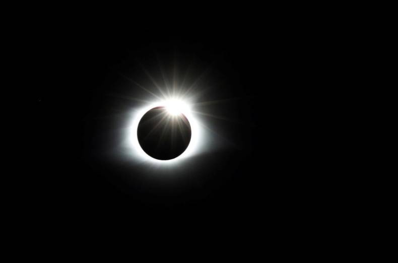 The solar eclipse creates the effect of a diamond ring at totality as seen from Clingmans Dome, which at 6,643 feet (2,025m) is the highest point in the Great Smoky Mountains National Park, Tennessee, U.S. August 21, 2017.
