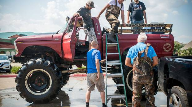 The Big Red Mud Truck rescue team