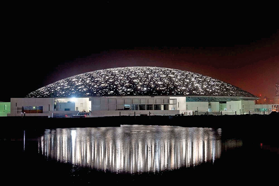 Some 4,500 tube lights have been attached to the Louvre Abu Dhabi's dome