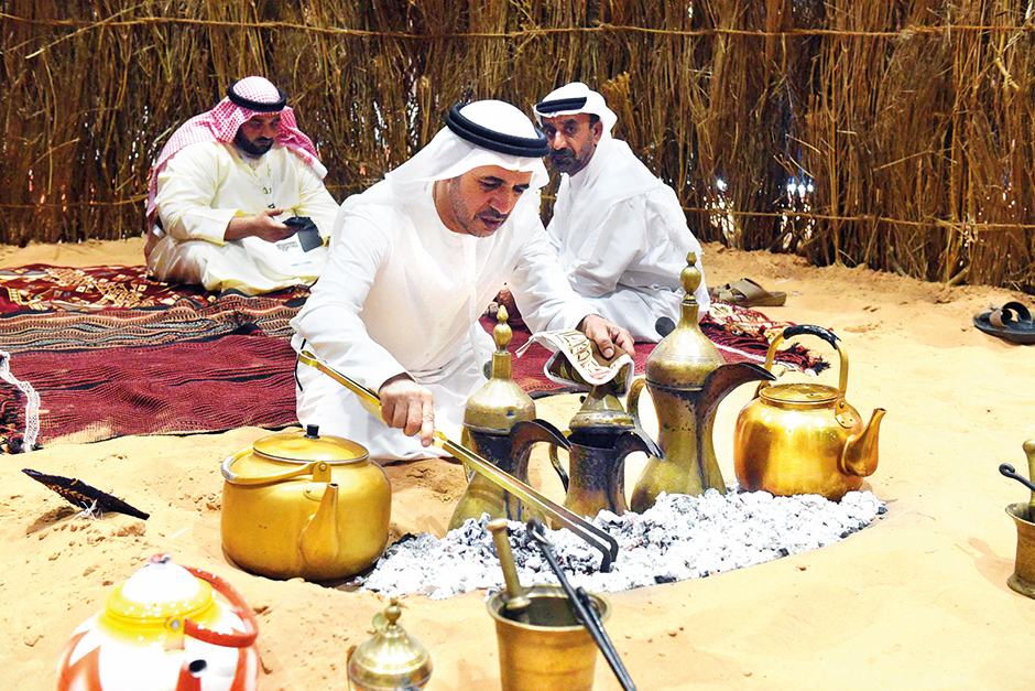 Traditional kahwa being prepared at the Abu Dhabi Tourism and Culture pavilion at the exhibition