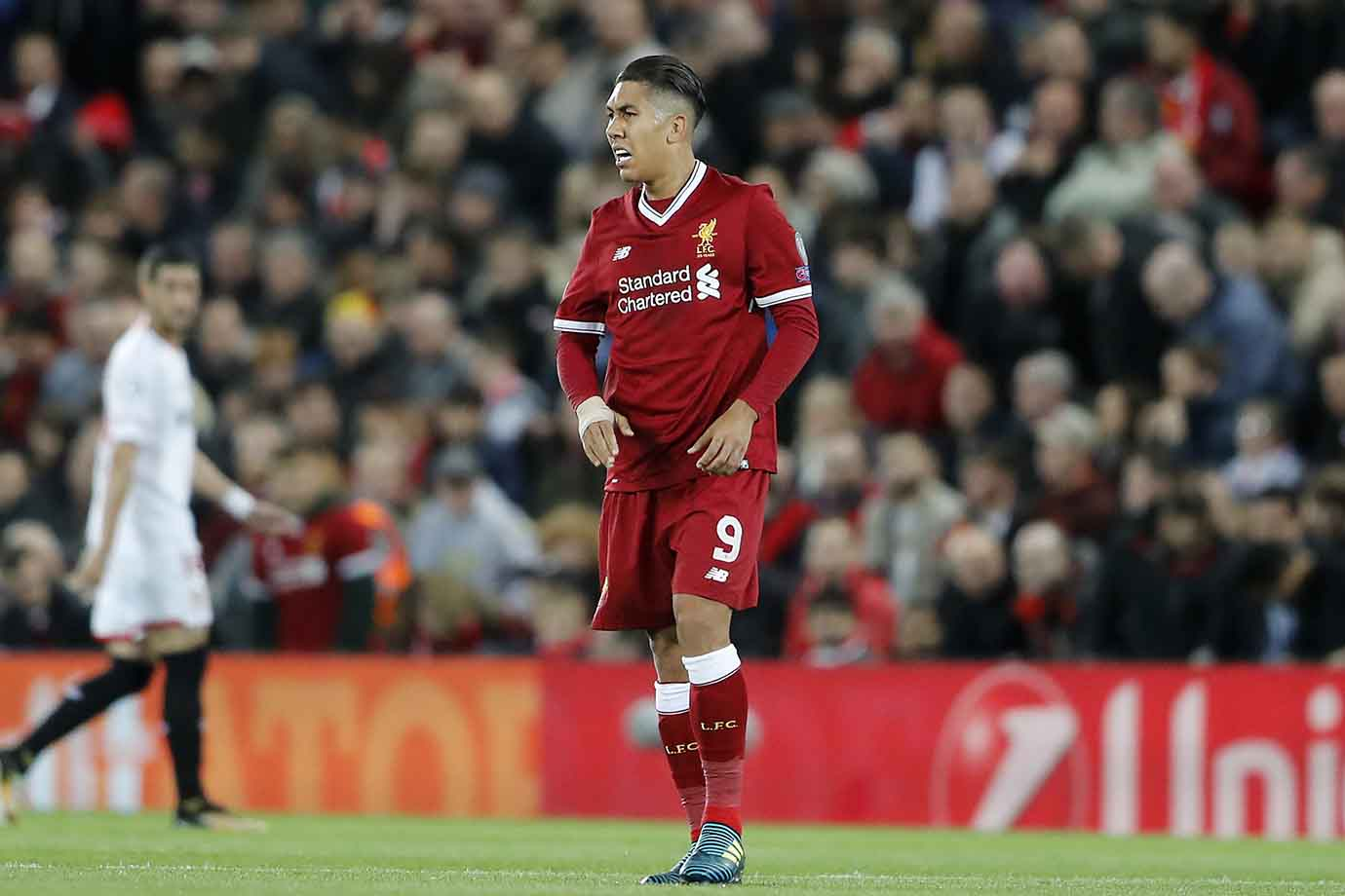 Roberto Firmino scored but also missed a penalty for Liverpool against Sevilla.