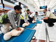 First-aid training for passengers at airport