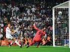 Real Madrid's Cristiano Ronaldo scores past APOEL Nicosia's goalkeeper Boy Waterman that was eventually cancelled by line referee during the Champions League match at the Santiago Bernabeu stadium in Madrid on Wednesday.