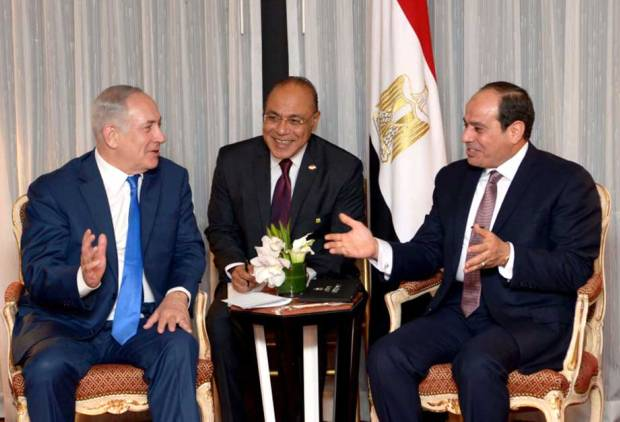 Al Sissi in first public meeting with Netanyahu