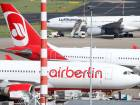 A Lufthansa aircraft is parked next to two aircrafts of German carrier AirBerlin at Duesseldorf airport in Duesseldorf, Germany