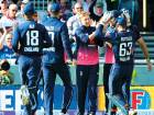 England's Joe Root, centre, is congratulated by team mates after catching West Indies' Chris Gayle during the first Royal London One Day International match in Manchester, England, Tuesday.