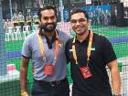 Singapore's Sharan Kumar (left) with UAE's Ramveer Rai at the World Indoor Cricket Federation World Cup.
