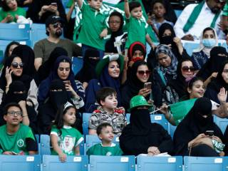 Women throng Saudi Arabia stadium