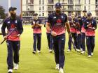 England players leave the field, England's Moeen Ali (L) man of the match and England's Liam Plunkett (C), who took five wickets, after the third one day international cricket match played between England and the West Indies at the Brightside Ground in Bristol.