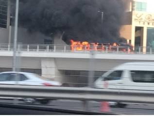 Watch: Bus catches fire in Dubai Marina