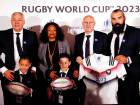 Members of the French 2023 bid team pose with children of Jonah Lomu.