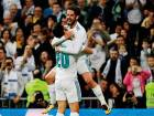 Real Madrid's Marco Asensio (left) celebrates with midfielder Isco after scoring a goal against Eibar.