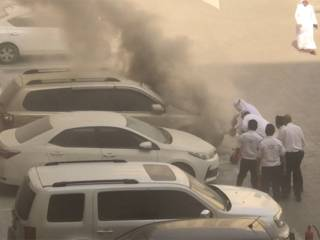 Watch: Al Khail Gate heroes douse car fire