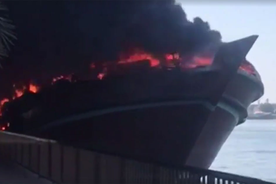 Wooden dhow catches fire in Sharjah