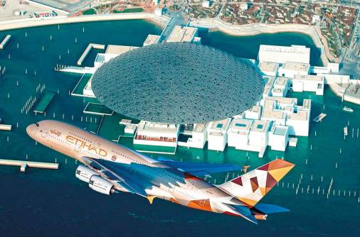 Etihad Airways A380 fly-by Louvre Abu Dhabi