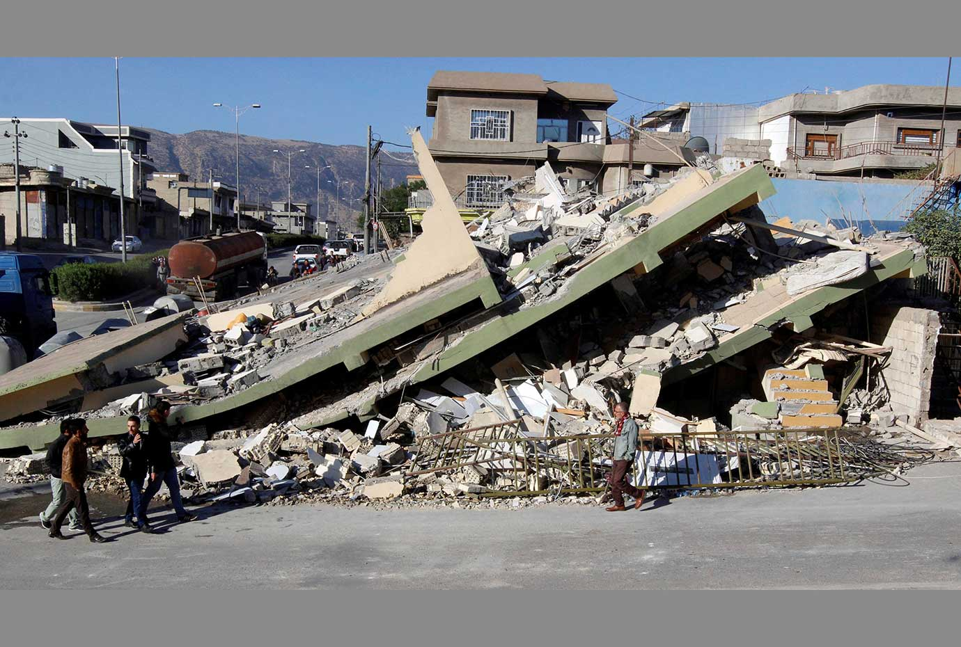 Collapsed building is seen in the town of Darbandikhan, near the city of Sulaimaniyah, in the semi-a