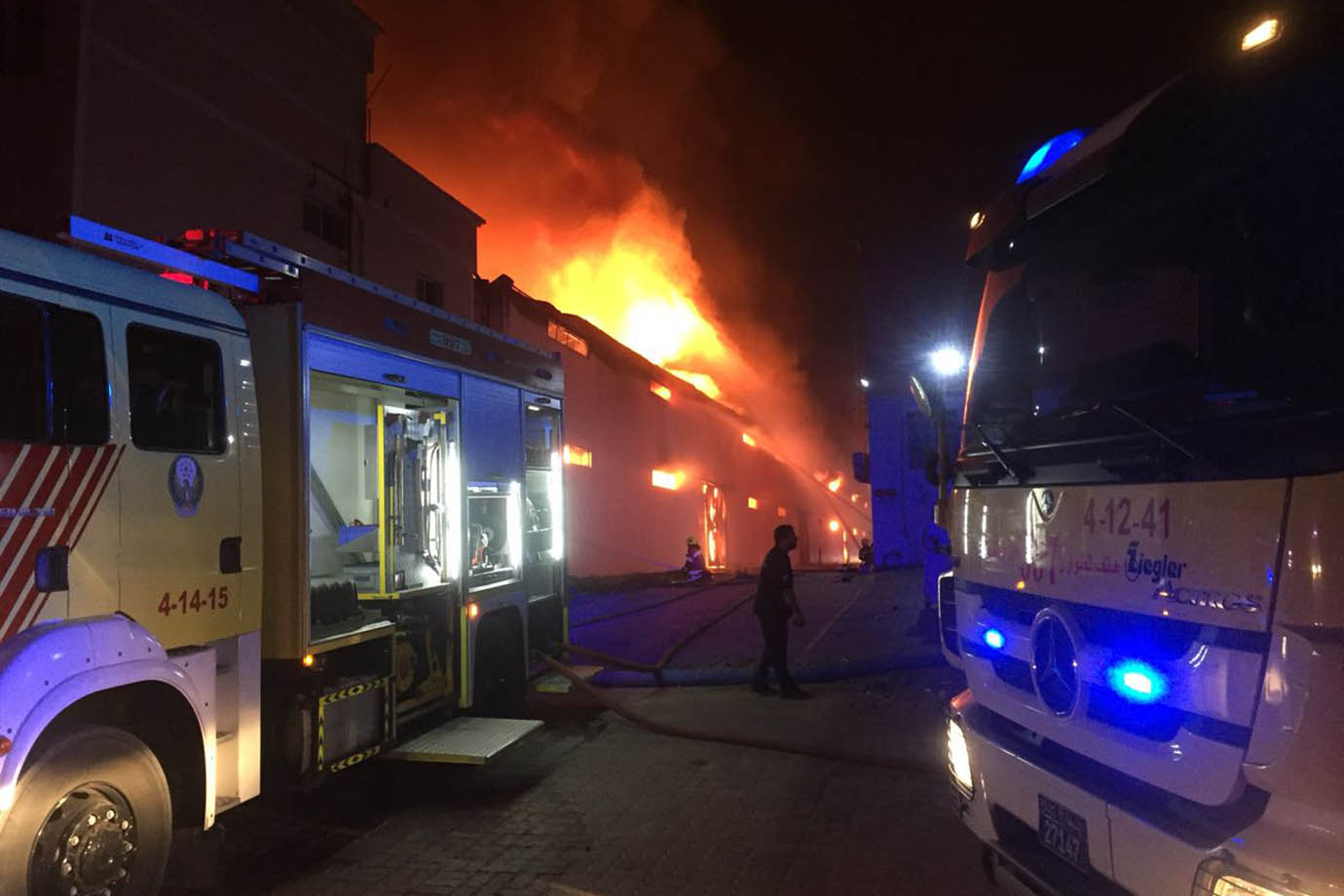 Firefighters tackle the blaze in Ajman.