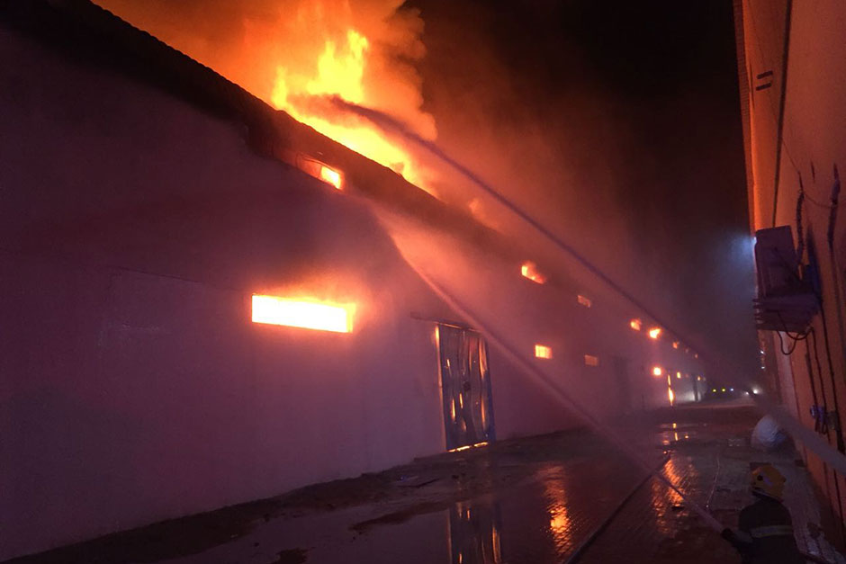 Firefighters tackle the blaze in Ajman
