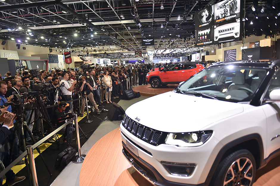 Car enthusiasts throng the venue of Dubai International Motor Show being held at Dubai World Trade C
