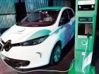 An electric car with a charging station being demonstrated in Dubai recently.