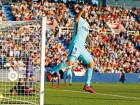 Barcelona's Luis Suarez celebrates after scoring the opening goal against Leganes during their La Liga match at the Butarque stadium in Madrid.
