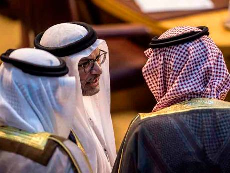 Saudi Foreign Minister Adel Al Jubeir talks with UAE Minister of State for Foreign Affairs A