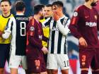 Juventus' Paulo Dybala (second from right) talks to Barcelona's Lionel Messi at the end of the Champions League Group D match at the Allianz Stadium in Turin.