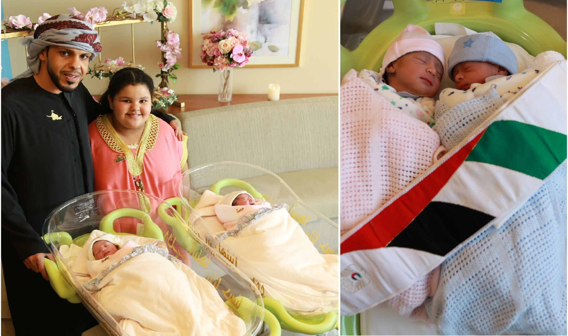 Two sets of twins were born in the same hospital in Abu Dhabi in the hours of December 2, 2017, the