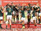 South African team celebrate their victory after defeating New Zealand in the final of the Emirates Dubai Rugby Sevens — HSBC Sevens World Series at The Sevens Stadium in Dubai on Saturday. South Africa won 24-12.