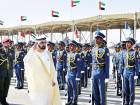 Shaikh Mohammad inspects guard of honour at the graduation ceremony of pilot officers at the Khalifa Bin Zayed Air College in Al Ain on Monday.