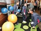 Children try out workout props during the Abu Dhabi Childhood Obesity Forum.
